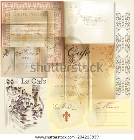 Vector set of scrap-booking elements paper, stamps and signatures - stock vector