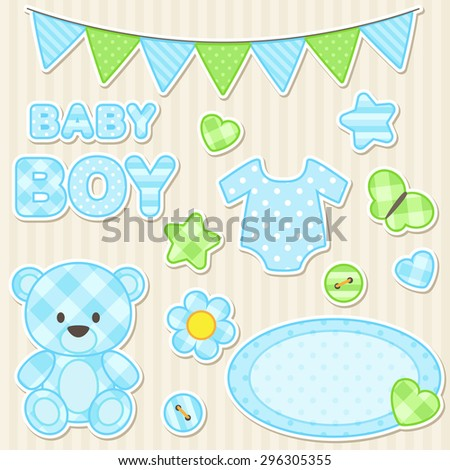 Vector set of scrapbook elements for boy in blue color - stock vector