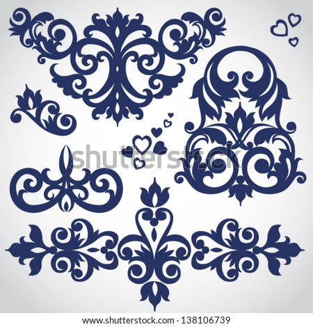 Vector set of scrolls and vignettes in Victorian style. Element for design. It can be used for decorating of invitations, cards, decoration for bags and at tattoo creation. - stock vector