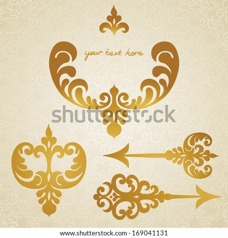 Vector set of scrolls, vignettes and arrows in Victorian style. Element for design. It can be used for decorating of invitations, greeting cards, decoration for bags and at tattoo creation. - stock vector