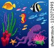 vector set of sea animals and seaweeds - stock photo