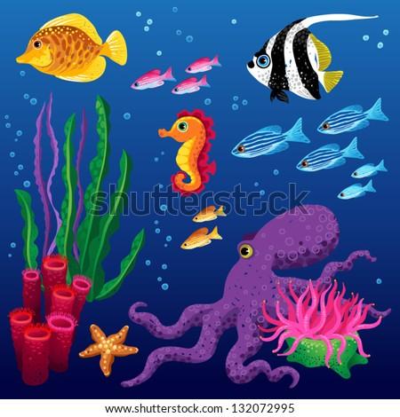vector set of sea animals and seaweeds - stock vector