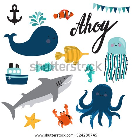 Vector set of sea creatures and elements: whale, octopus, jellyfish, shark, crab, starfish, seahorse, clown anemonefish, zebrasoma, ship, anchor and text Ahoy. Cute hand drawing cartoon characters. - stock vector