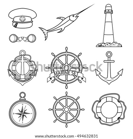 Vector set of sea elements in a linear style. Isolated on white background. Cap, a lighthouse, a steering wheel, a lifeline, binoculars, compass, anchor, sword fish, steering wheel with tape.