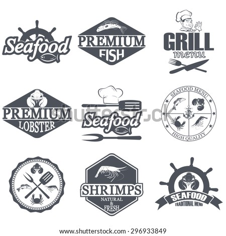 Vector set of seafood labels and signs - stock vector