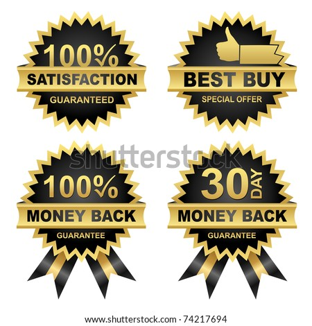 Vector Set of Seals - Eps8.  Vector Money Back -Satisfaction - Best Buy... - stock vector
