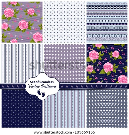 Vector set of 9 seamless background patterns pink pastel tones.  - stock vector