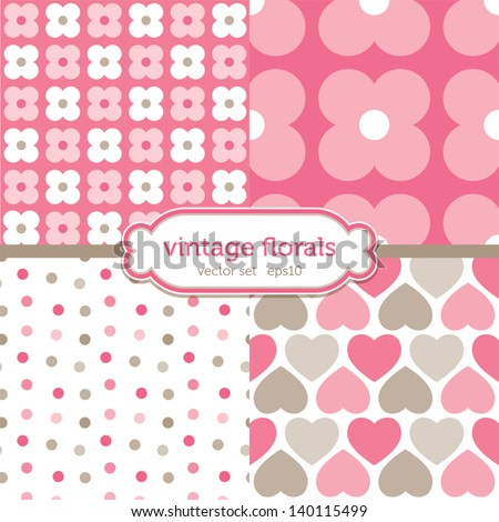Vector set of seamless background patterns with hearts and retro floral motifs in pink and brown. Good for scrapbook, surface textures. See my folio for similar styles and for JPEG versions. - stock vector