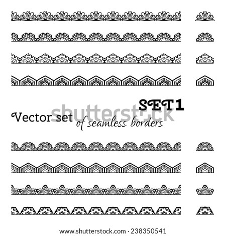 Vector set of seamless borders. All used pattern brushes included. Black and white illustration.