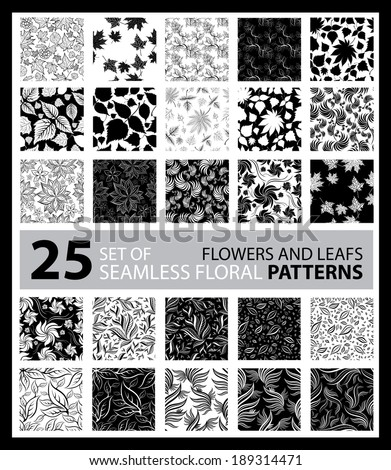 Vector set of seamless floral pattern with flowers and leafs - stock vector