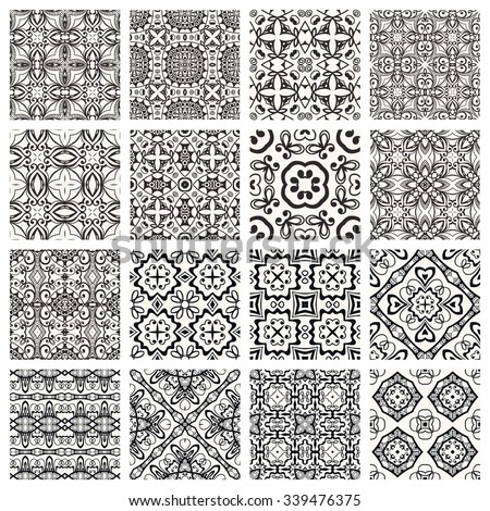 Vector Set of 16 seamless geometric patterns, repeating fabric texture. Isolated design elements collection for Cards or Invitations. Black and white abstract background  - stock vector
