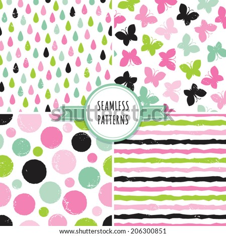 Vector set of seamless hipster backgrounds in pinks and greens. Rough hand drawn patterns with butterflies, dots, raindrops and stripes. - stock vector