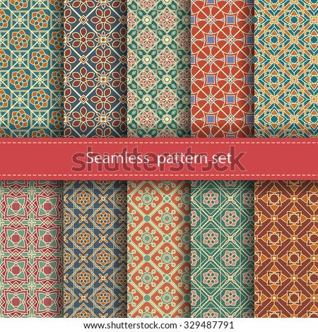 Vector set of 10 seamless mosaic patterns. Arabic tile texture with geometric ornament. Decorative and design elements for textile, book covers, manufacturing, wallpapers, print, gift wrap. - stock vector
