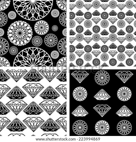Vector set of seamless pattern from diamond design elements - stock vector