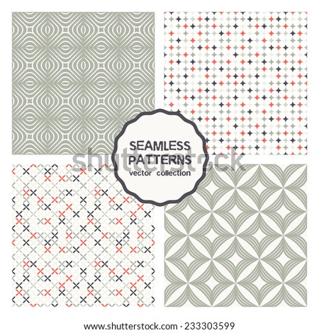 Vector set of seamless patterns. Abstract geometric backgrounds. Monochrome elegant grid, fine colorful mosaic. Cute geometric patterns can be used for business cards, textiles, wallpaper, packaging - stock vector