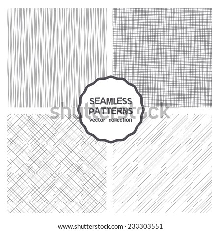 Vector set of seamless patterns. Abstract geometric backgrounds. Monochrome neutral backdrops, fine linear grids, universal backgrounds. Imitation fabric can be used for any purpose - stock vector