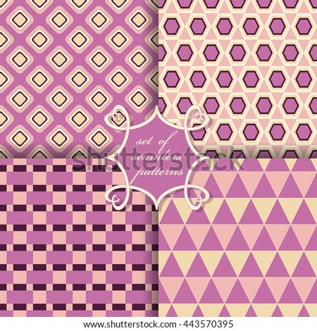 vector set of seamless patterns of geometric shapes