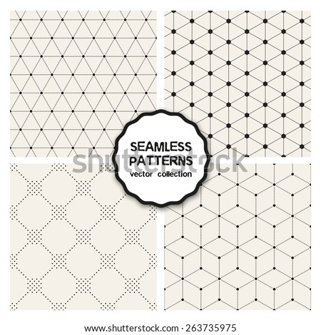 Vector set of seamless patterns. Repeating geometric tiles. Collection of minimalistic textures. Hexagons, triangles and rhombuses from circles. Dotted regular simple prints. Modern graphic design. - stock vector