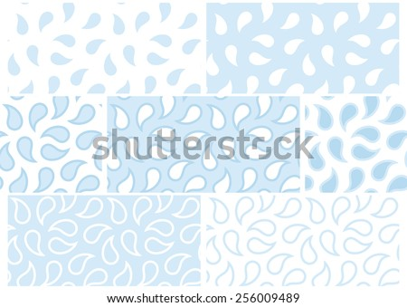 Vector set of seamless patterns with abstract drops in white and blue. Eps 10. - stock vector