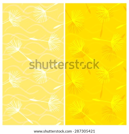 Vector set of seamless patterns with seeds of dandelion and wavy stripes in yellow and orange colors. Eps 10. - stock vector
