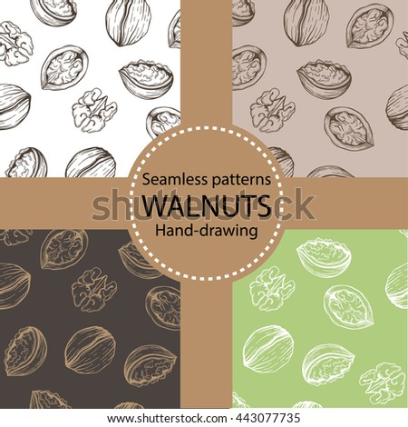 Vector set of seamless patterns with sketches of walnuts. Linear nuts silhouettes.