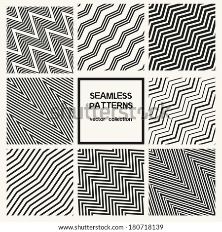 Vector set of seamless patterns. Zig zag diagonal patterns. Striped monochrome textures. - stock vector