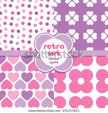 Vector set of seamless retro background patterns in pink and lavender. Great for baby announcement, Mother's Day, Valentines Day, Easter, wedding, scrapbook, surface textures, gift wrapping paper. - stock vector