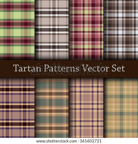 Vector set of seamless tartan patterns. Plaid pattern set with colorful beige, violet, green and grey stripes. - stock vector