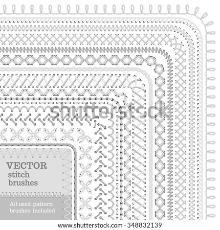 Vector set of seamless white high detailed stitch brushes. Sewing  borders, seams, patterns, page decorations and dividers isolated on white background. All used pattern brushes included. - stock vector