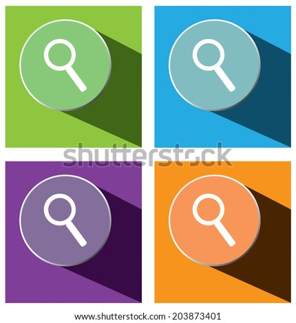 Vector - set of search icons with long shadow  - stock vector