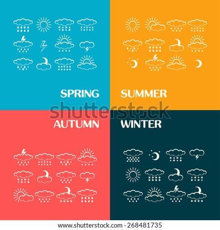 Vector set of 4 season weather icons isolated. Symbol design. Sun, moon, wind, cloud, rain, storm, snow, thunderstorm, star, lightning. Climate symbols. Meteorology illustration. - stock vector