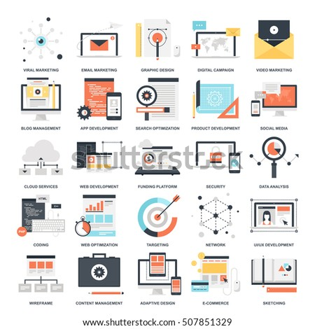 Vector set of SEO and development flat web icons. Illustration graphic design concepts. Modern flat icon style. Symbols for mobile and web graphics. Logo creative concepts