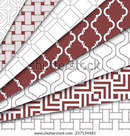 Vector set of seven seamless patterns. Every ones are located in panel Swatches. Repeating geometric tiles with striped squares, linear rhombuses. Contrast ornaments  in fashionable color Marsala - stock vector