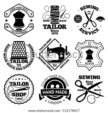 Vector Set Sewing Tailor Shops Labels Stock Vector