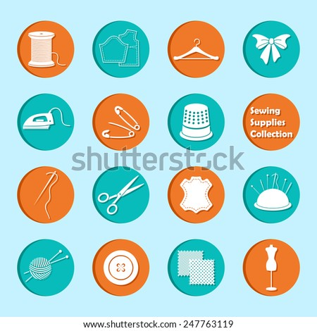 vector set of sewing equipment icons - stock vector