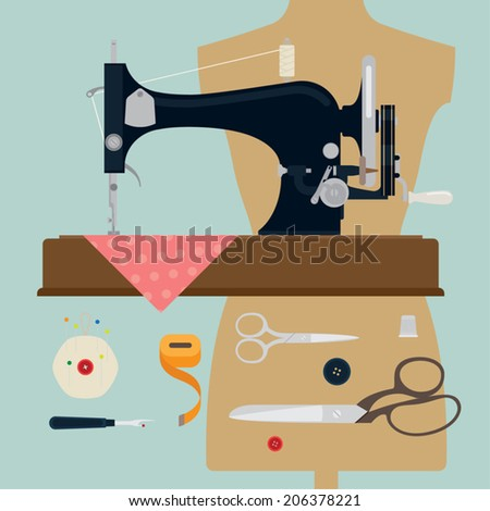 Vector set of sewing items featuring vintage sewing machine on beige background - stock vector
