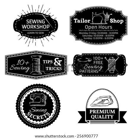 Vector set sewing linear retro badges stock vector 256900777 vector set of sewing linear retro badges labels logo templates and frames retro pronofoot35fo Image collections