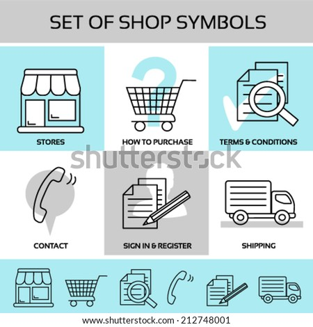 Vector set of shop symbols, navigation - store, shopping trolley, sheet of paper with magnifier and pencil, contact - phone symbol, shipping - truck, car symbol - stock vector