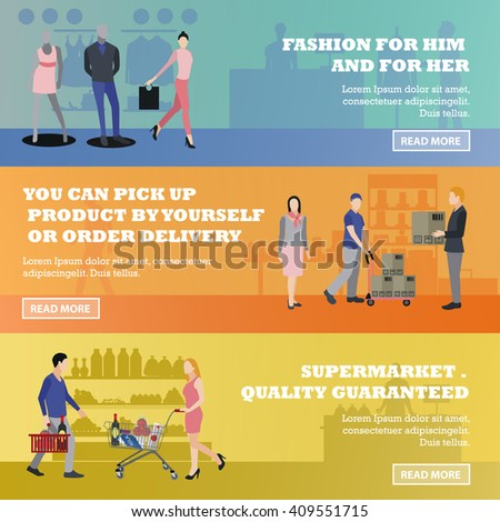 Vector set of shopping banners. Illustration in flat style design. People shopping in a department store. - stock vector