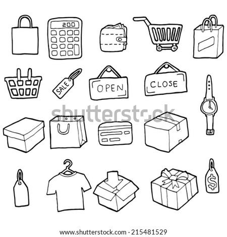 vector set of shopping icon - stock vector
