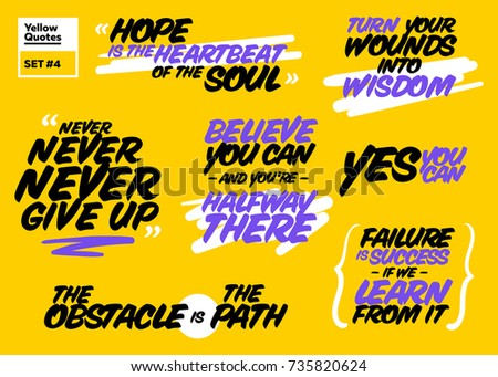 Short Positive Quotes About Life Custom Vector Set Short Positive Quotes Motivational Stock Vector