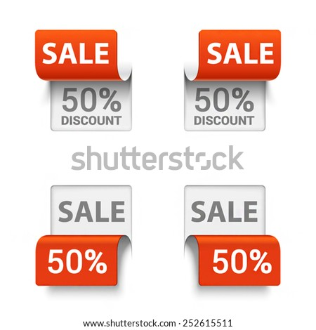 Vector set of signs saying SALE in different orientations. - stock vector