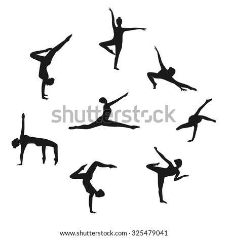 Vector Set of silhouette dancing girl. Set of gymnastic silhouette. Silhouette women dancing isolated on white background. Black woman dancer set.