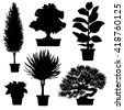 Vector set of silhouette plants and flowers in pot. Black and white illustration of plants - stock vector
