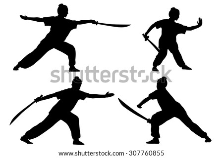 Vector set of silhouettes: girl show Wushu with saber. - stock vector