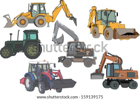 vector set of 6 silhouettes of a tractors of road service - stock vector