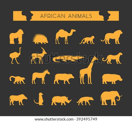 Vector set of silhouettes of African animals. Vector silhouette of lion, leopard, monkey and crocodile. Geometric animals of Africa. Gold silhouette of a lemur, giraffe, hyena and elephant.