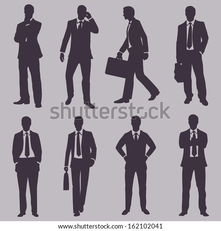 vector set of silhouettes of business people - stock vector