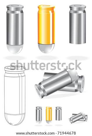 Vector Set of Silver And Gold Bullets - stock vector