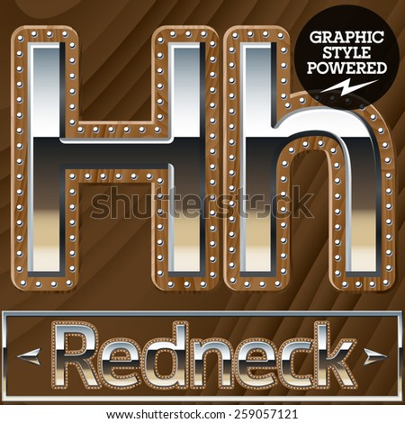 Vector set of silver country style font with wooden rivet border. Letter H - stock vector